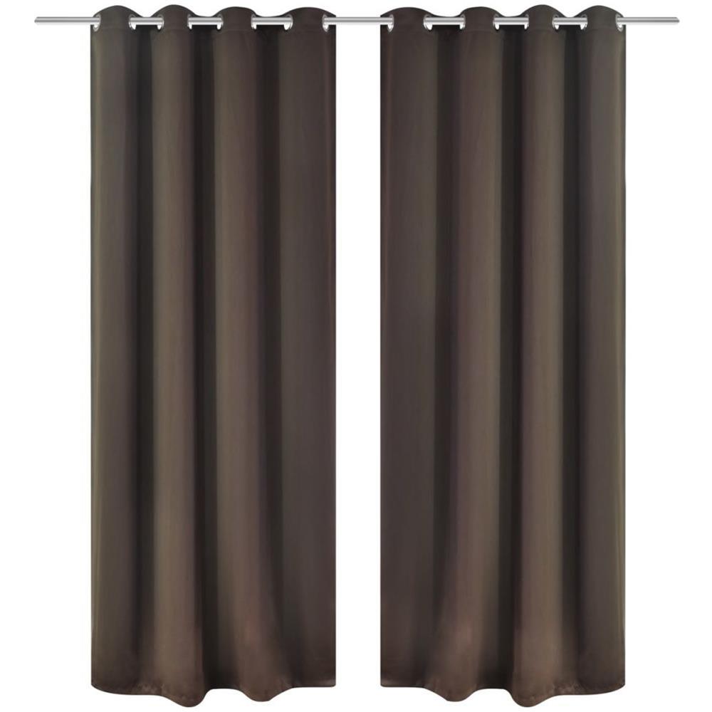 Tende Con Anelli.Vidaxl Set 2 Tende Oscuranti Marroni Con Anelli Metallo Blackout 135 X 245 Cm