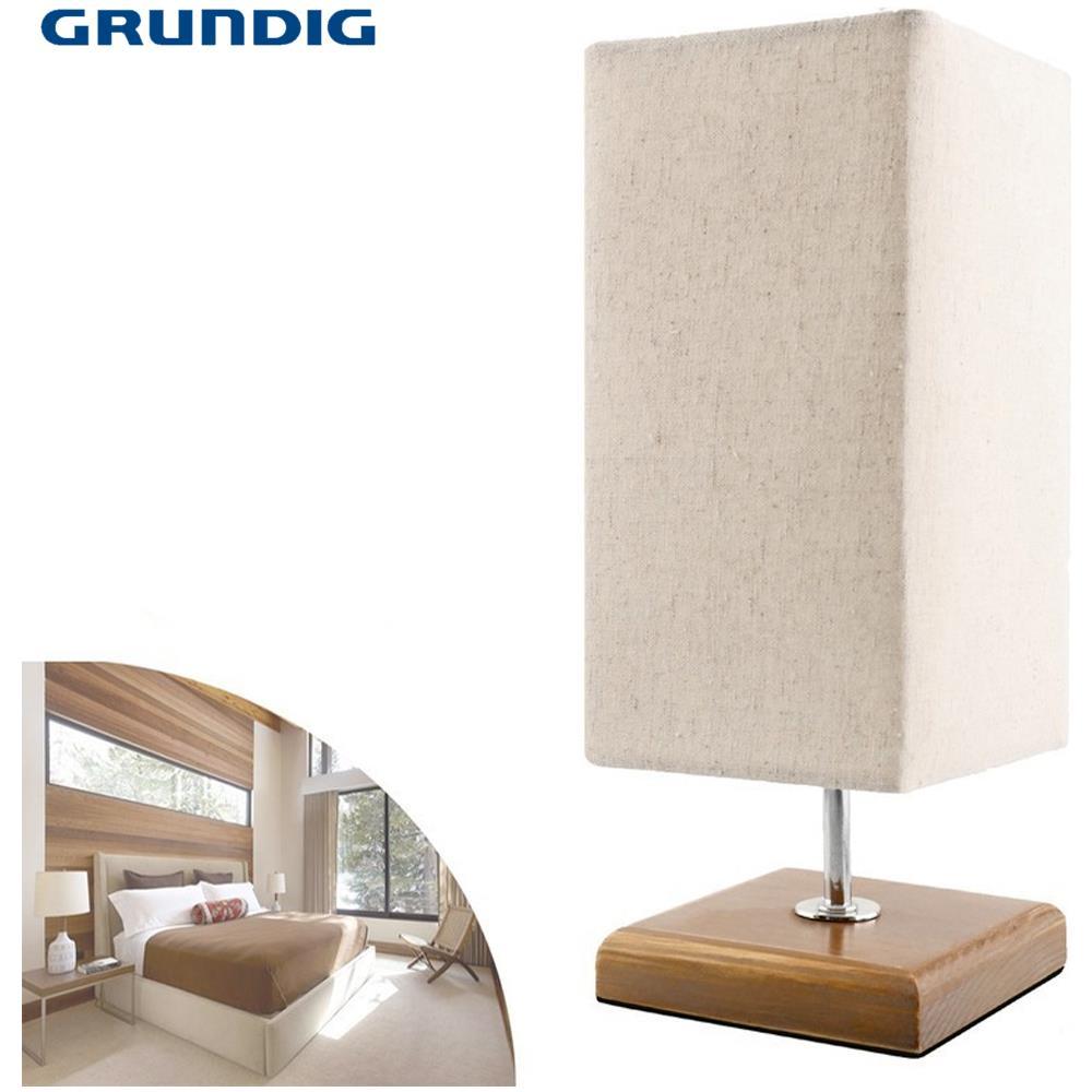 GRUNDIG - Lampada Da Tavolo Base Legno Paralume Tessuto 31cm Grundig ...