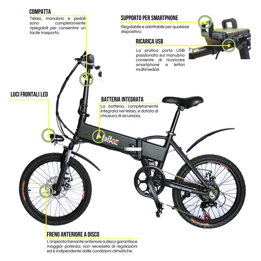 ibike bicicletta  I-BIKE - Bicicletta Elettrica Pieghevole Ruote 20
