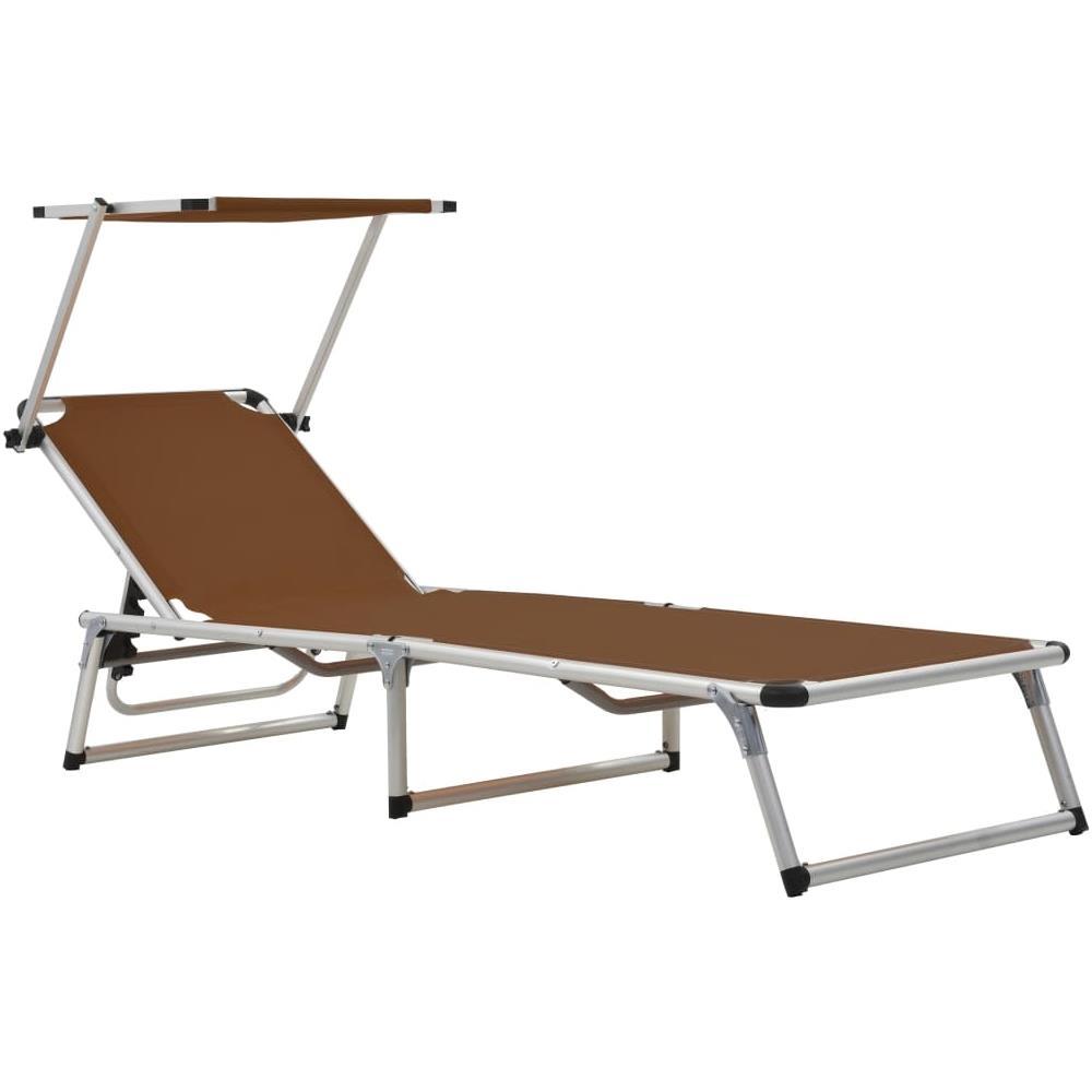 Lettini Da Spiaggia Leggeri.Vidaxl Lettino Da Sole Pieghevole Parasole Alluminio Textilene Marrone