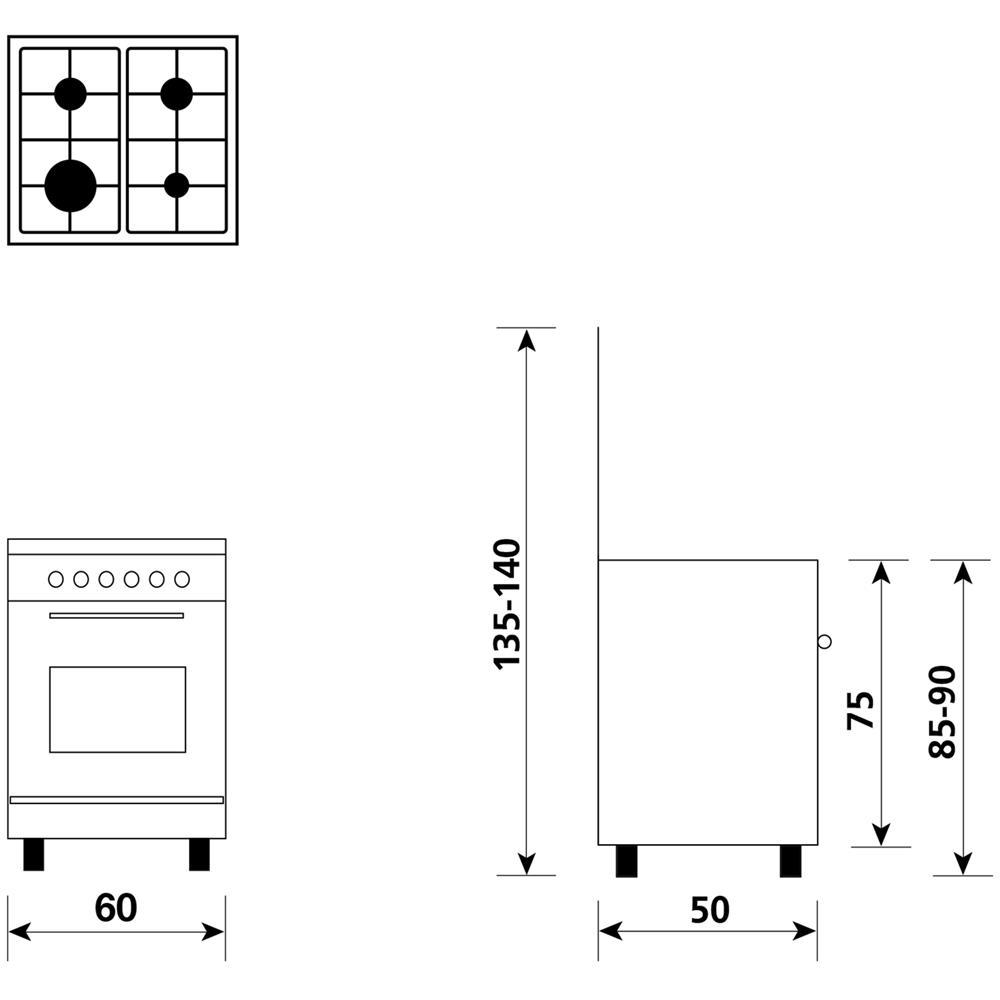 GLEM GAS - Cucina a Gas A654VI 4 Fuochi Gas Forno Gas Classe A ...