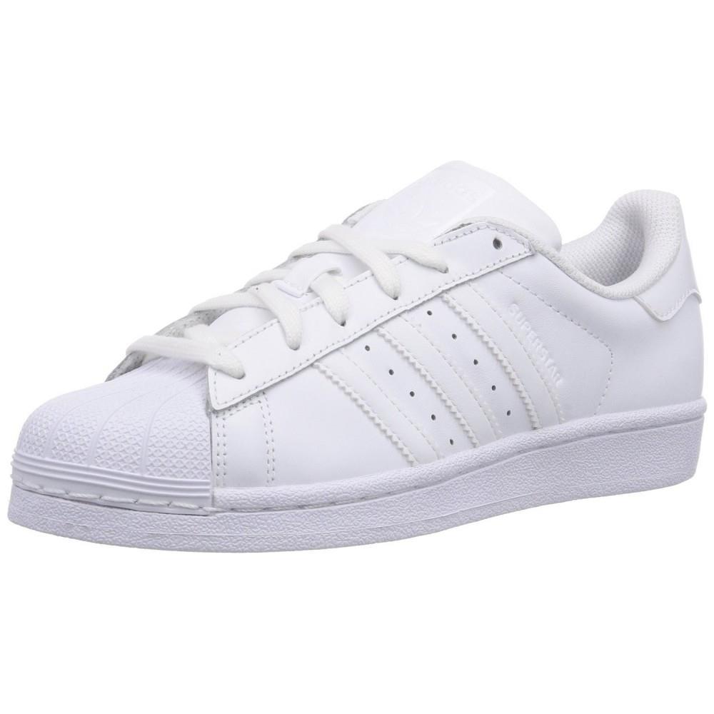 6257ffb396883 Adidas - Superstar Foundation J Scarpe Sportive Donna Bianche Pelle Lacci  B23641 38