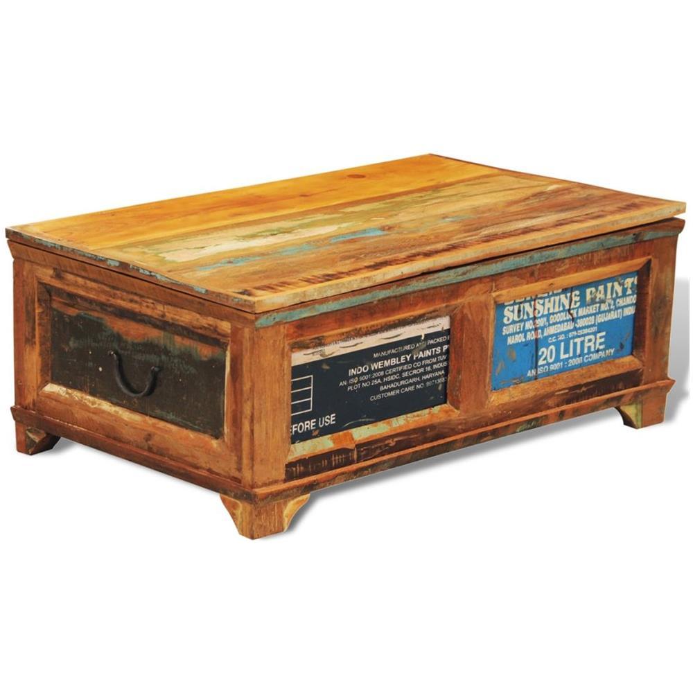 Vidaxl Tavolino Caffe Con Cassetto In Legno Anticato Stile Antico Vintage Eprice