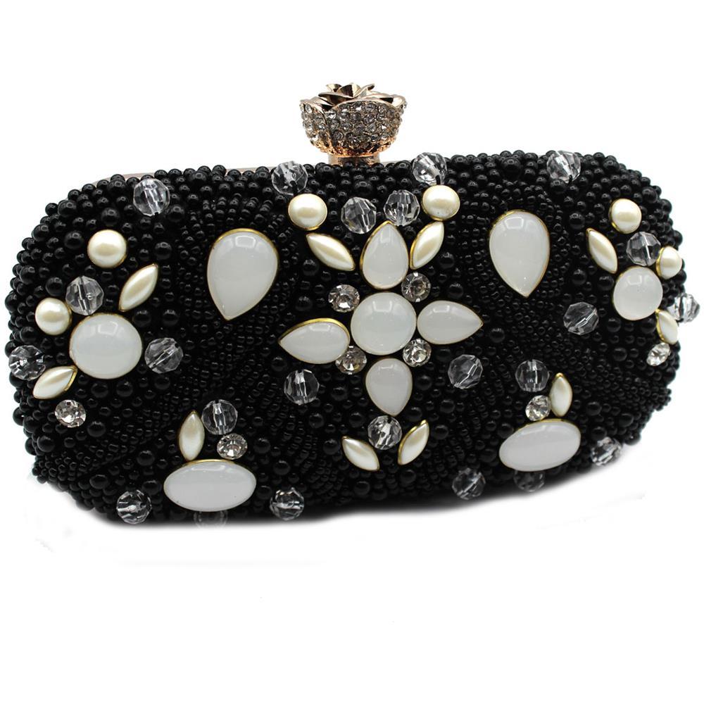 563476f889 MICHELLE MOON - Borsetta Donna Pochette Da Sera Clutch Con Perline Y4516  Nero - ePRICE