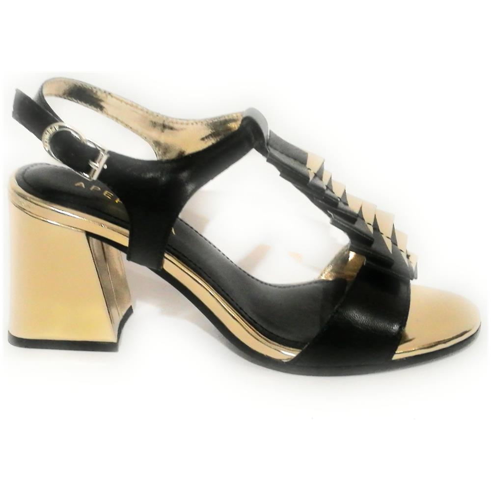 APE PAZZA - Scarpe Donna Apepazza Sandalo Mod. Paulette Tc 75 Pelle Nero    Gold Ds18ap13 - ePRICE 65668082e80