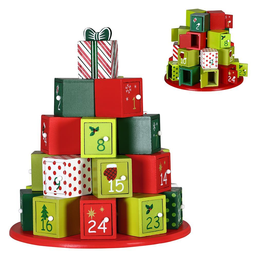 Regali Di Natale Accordi.Bakaji Calendario Avvento Regali Di Natale In Legno 24 Cassetti Decorazioni Natalizie