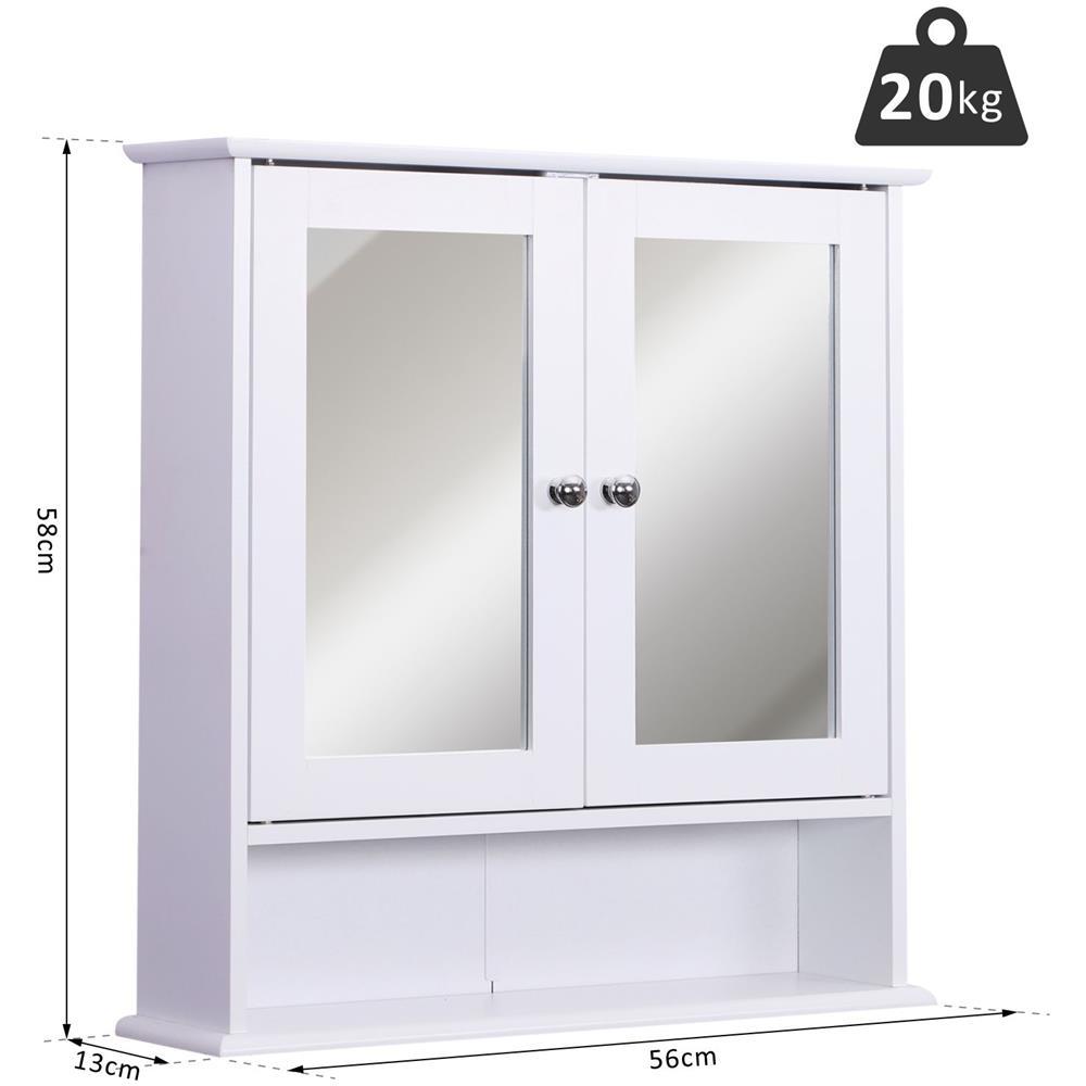 Pensili Per Camera Da Letto kleankin armadietto pensile da bagno con specchio bianco 56 x 13 x 58cm