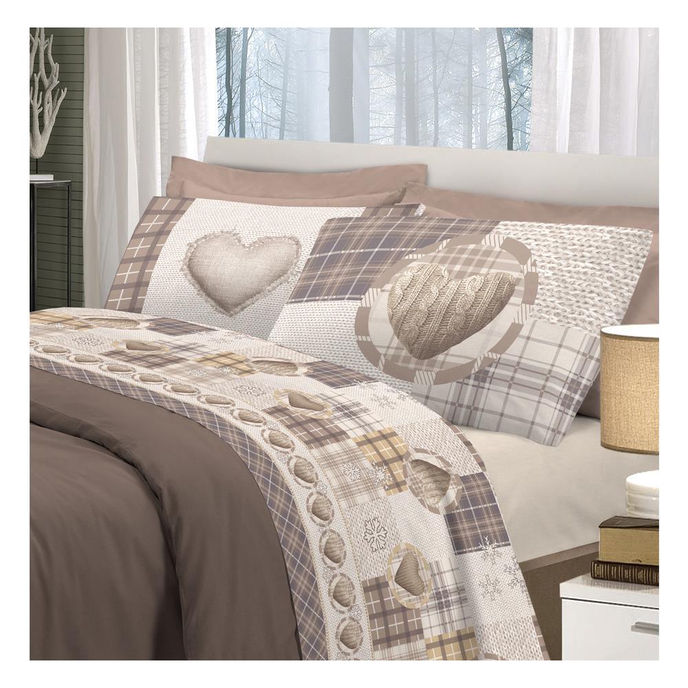 a2a85a3241 BIANCHERIAWEB Completo Lenzuola Linea Pensieri Delicati In 100% Cotone  Disegno Love Mountain Matrimoniale Beige