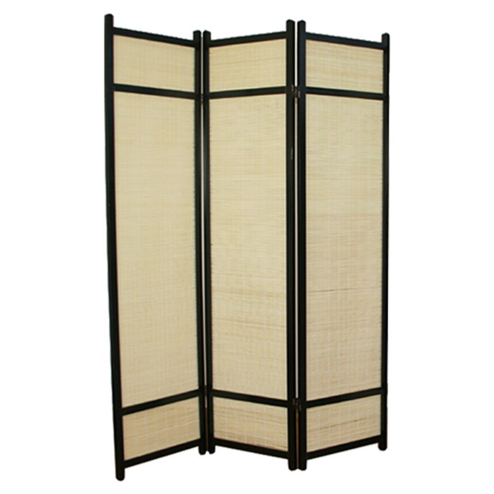 PEGANE - Paravento In Legno Nero Con Bambù Di 3 Pannelli - ePRICE