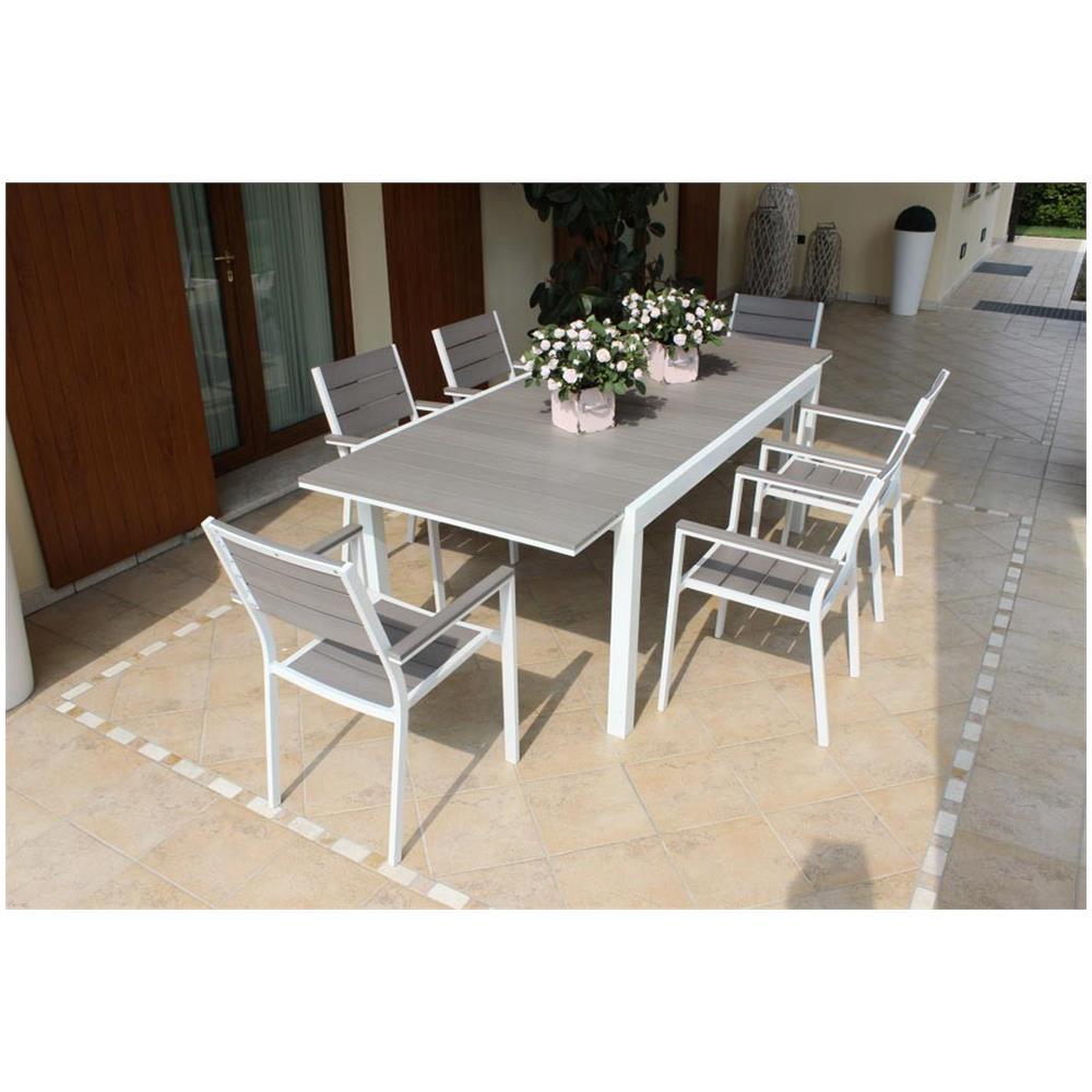 Tavolo Per Esterno Allungabile.Milanihome Tavolo Rettangolare Allungabile In Alluminio Bianco E