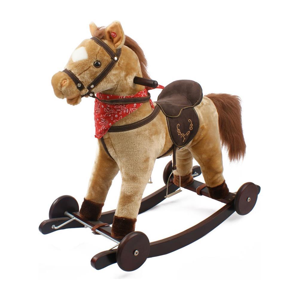 Cavallo A Dondolo In Peluche.Kiddy Cavallo A Dondolo Berlin In Peluche E Legno Con Ruote E
