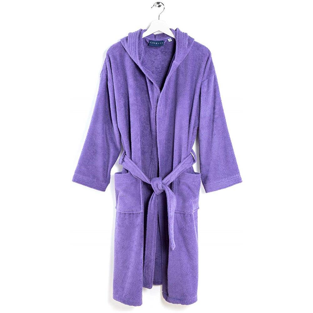b2c2329e61 CALEFFI - Accappatoio Con Cappuccio Cotone Alta Qualità Colore Viola ...
