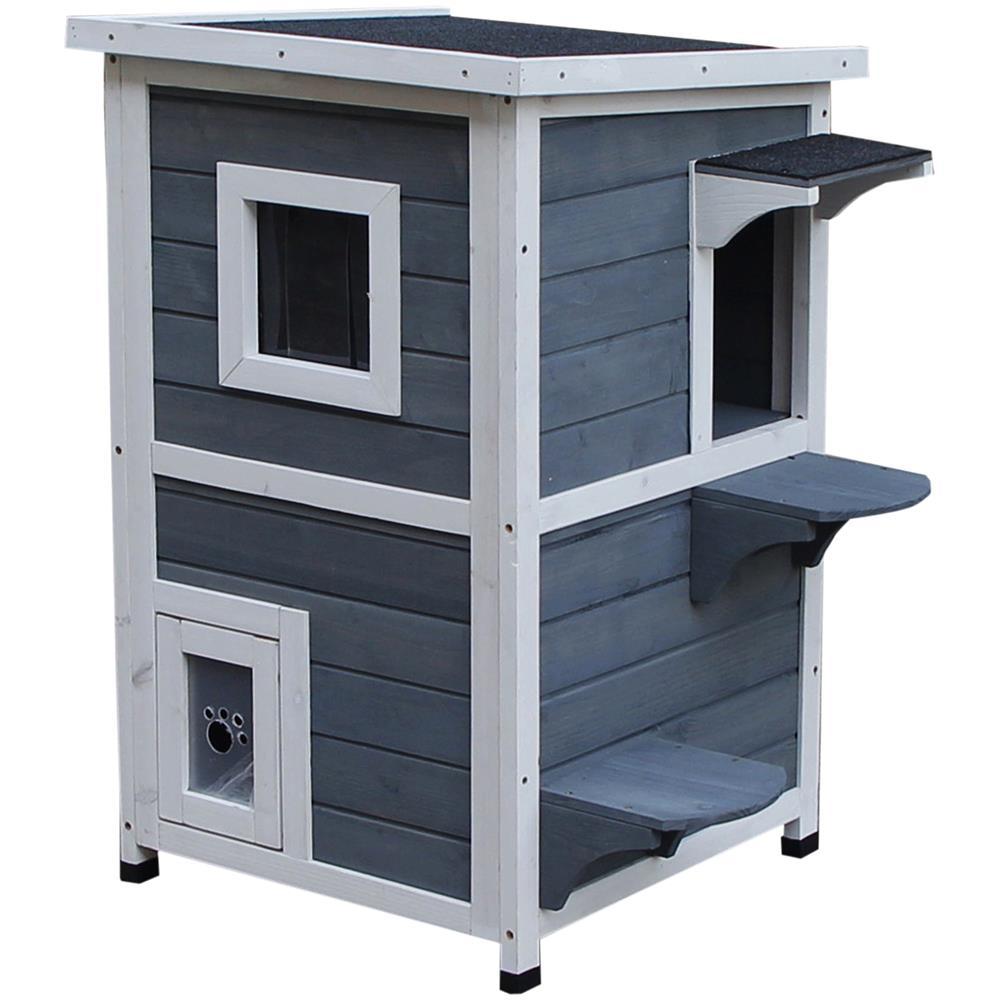Animali Da Esterno pawhut cuccia per animali domestici da esterno 2 livelli apribile in legno  grigio e bianco 51 x 51 x 81.3cm