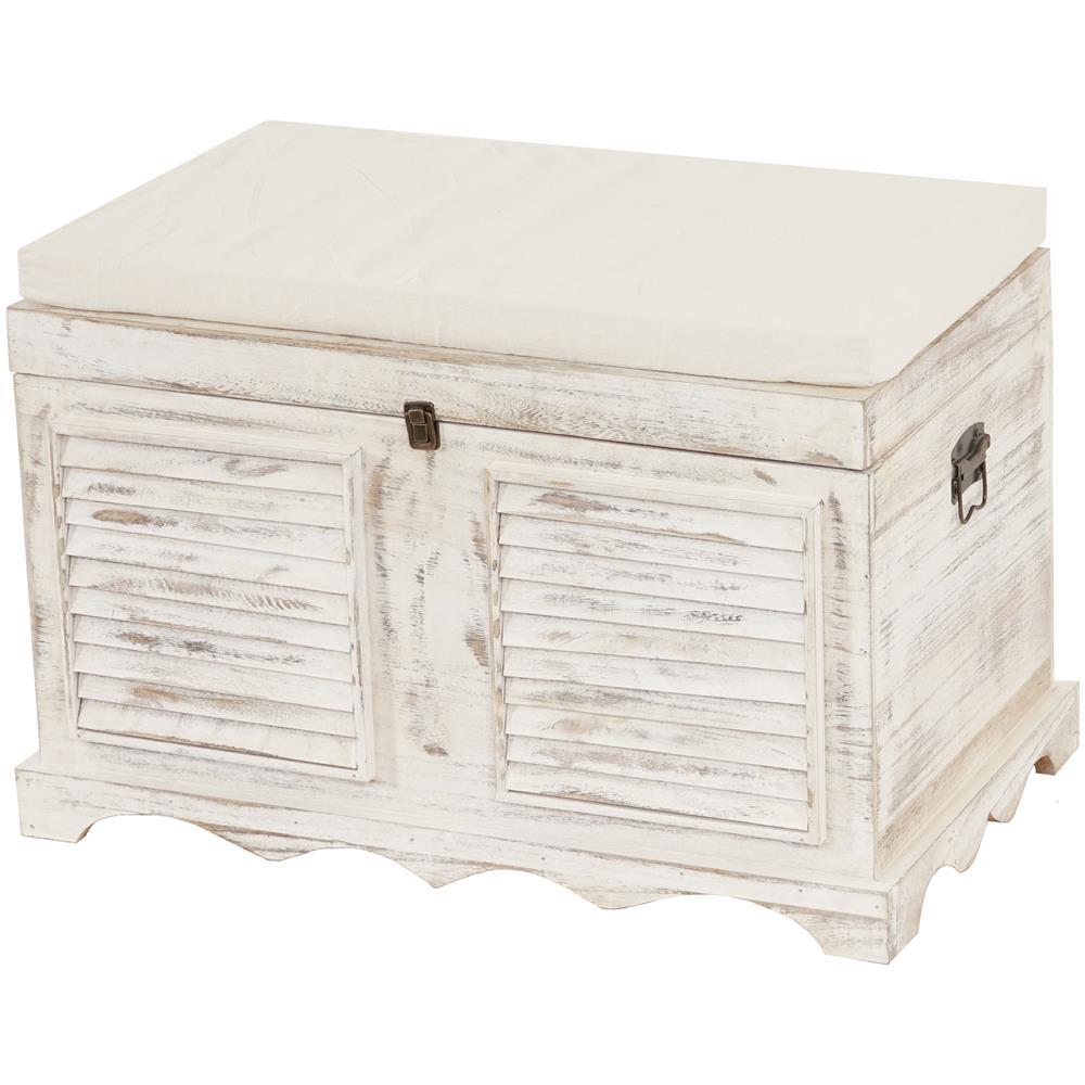 Mendler Serie Vintage Panca cassettiera con attaccapanni Home Legno di paulonia Marrone