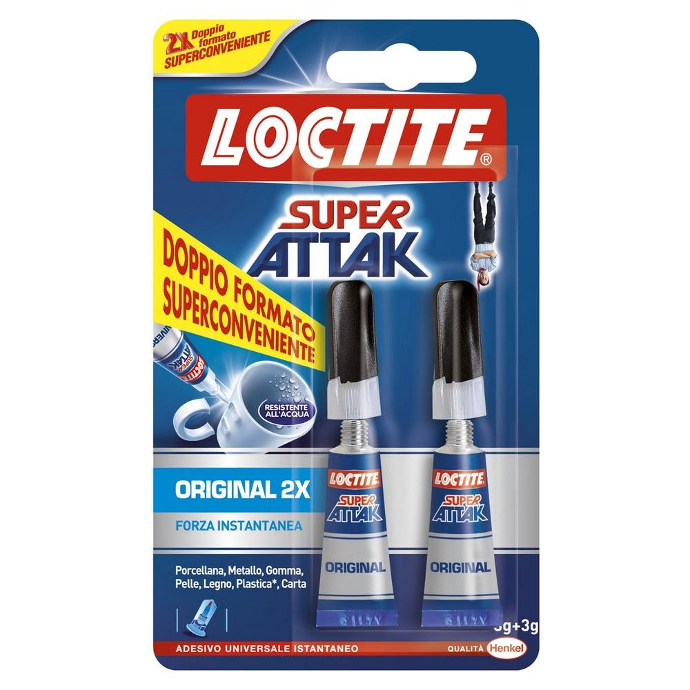 LOCTITE Colla Super Attak Original In Doppia Confezione Bipack Da 3gr Per Materiali Comuni