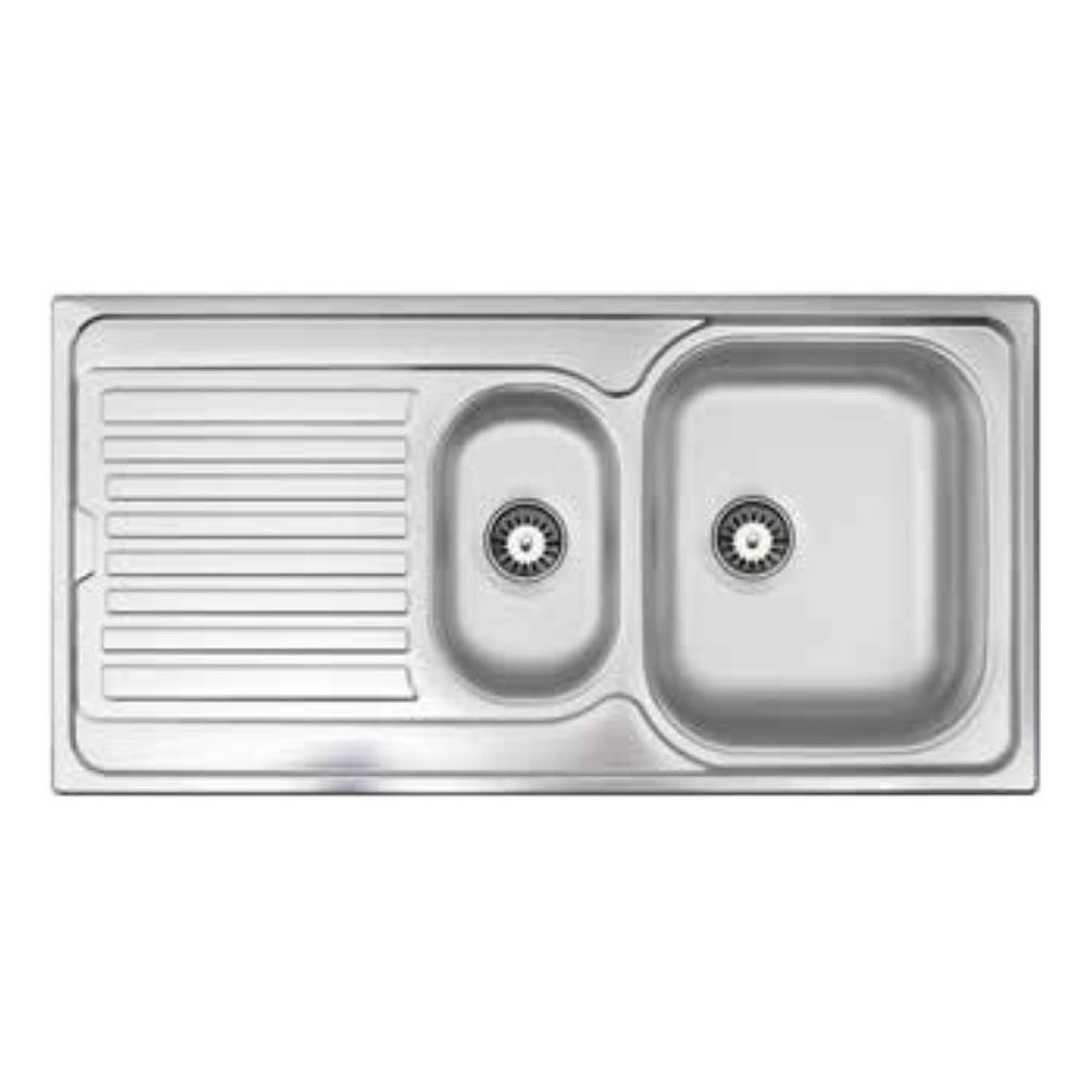 Lavello Cucina Una Vasca Grande apell lavello oh1002ilpc 1 vasca e 1/2 gocciolatoio a sinistra dimensioni  100 x 50 cm colore inox serie oceano