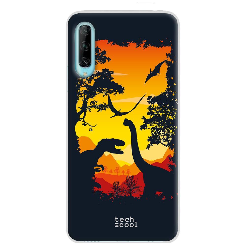 Techcool Cover, Custodia Per Huawei P40 Lite L Silicone Progettazione Film Dinosauro Mondo Jurassic Sfondo Arancione