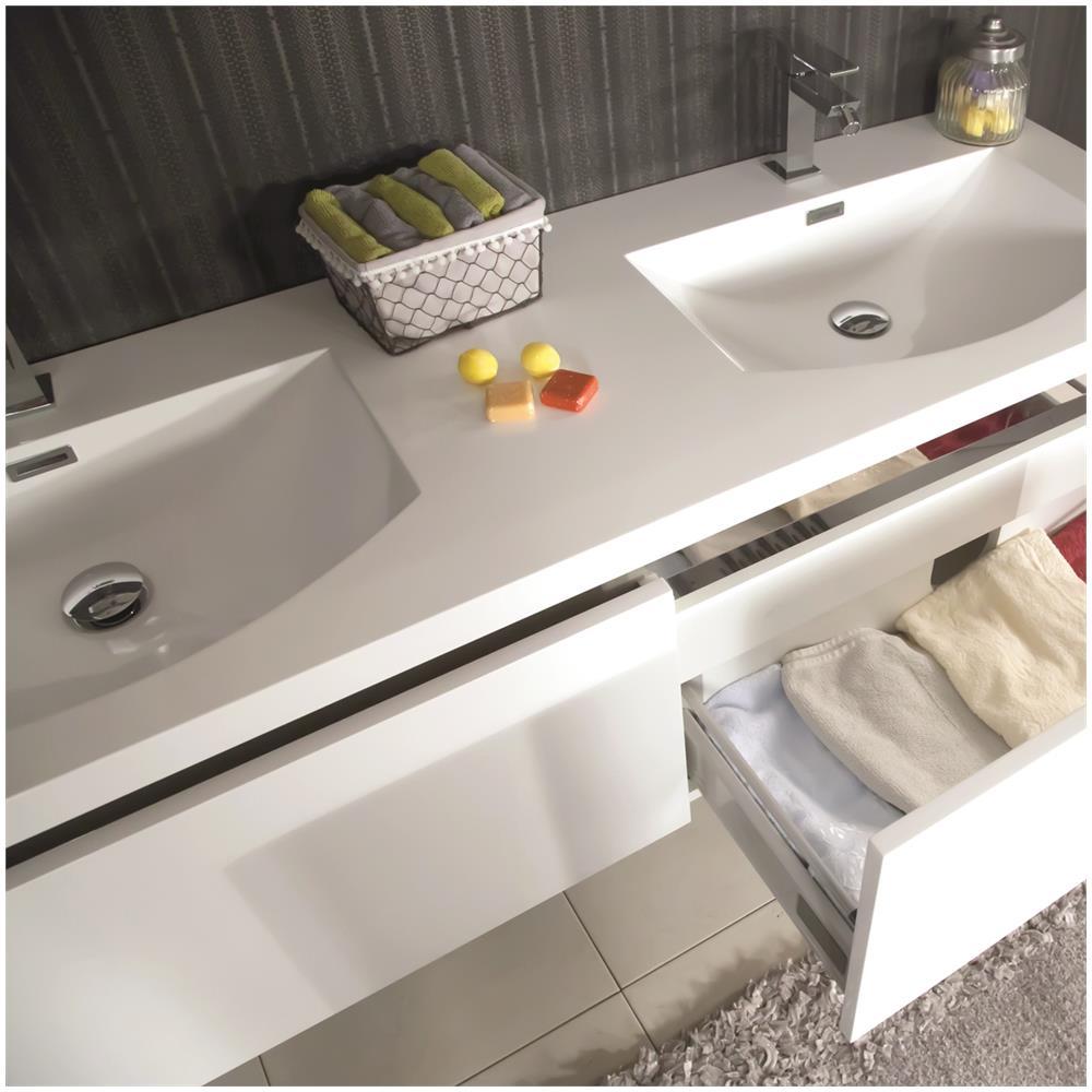 MARINELLIGROUP - Mobile Bagno Sospeso Moderno 150 Cm Con Doppio Lavabo E  Specchio. Azalea Bianco
