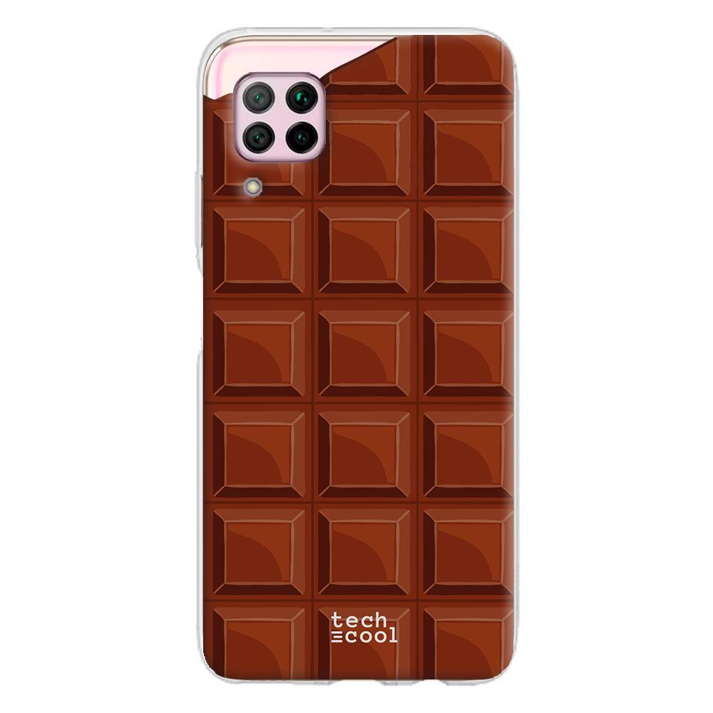 Techcool Cover, Custodia Per Huawei P40 Lite L Silicone Progettazione Tavoletta Di Cioccolato Vers. 1
