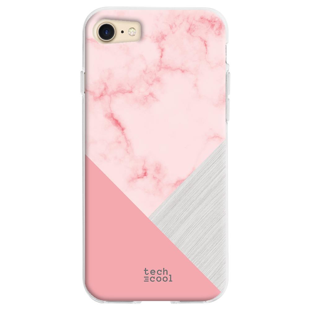 TECHCOOL Custodia Per Iphone 7 / 8 / Se 2020 L Cover Silicone Marmo Rosa Trama Combinato