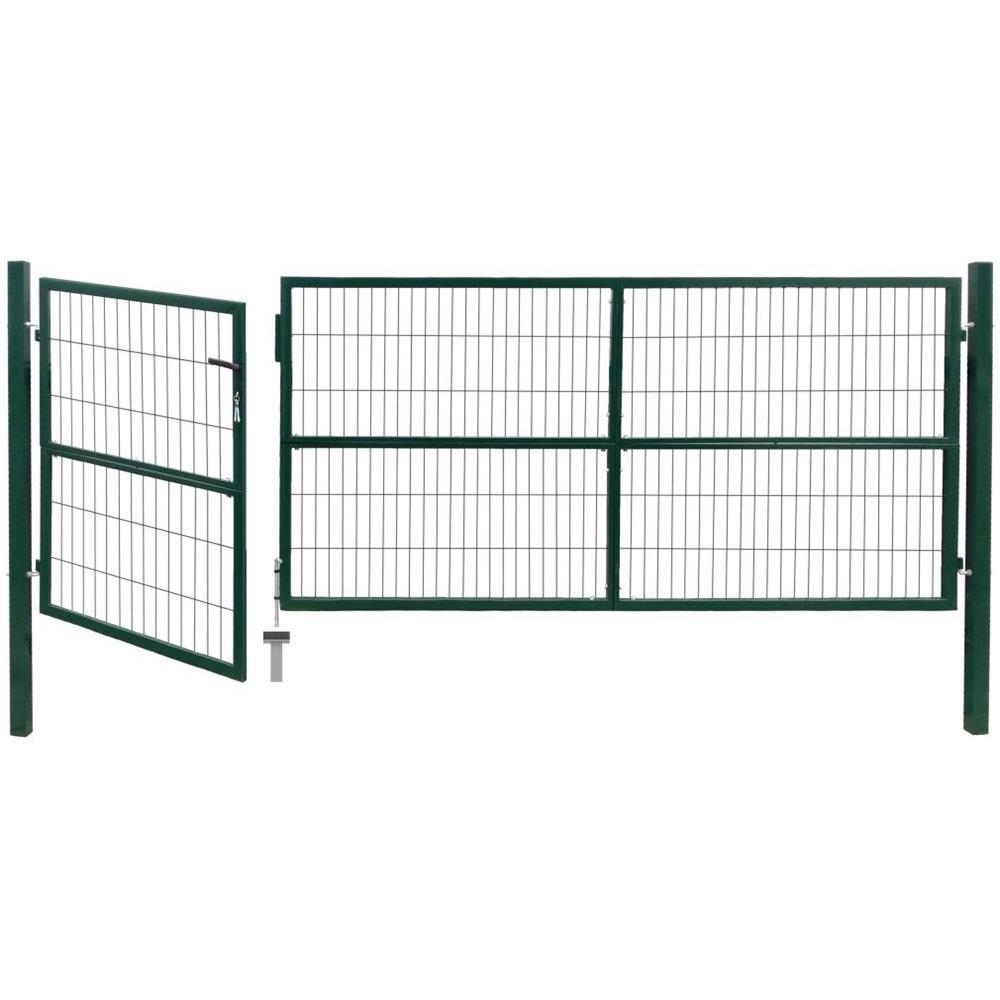 Vidaxl Cancello Di Recinzione Con Paletti 350x120 Cm In Acciaio