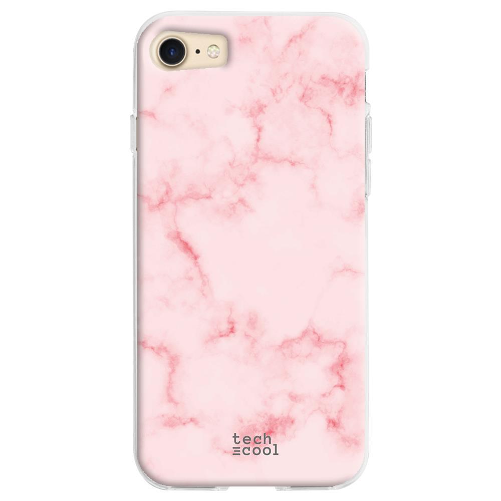 TECHCOOL Custodia Per Iphone 7 / 8 / Se 2020 L Cover Silicone Rosa Struttura Di Marmo