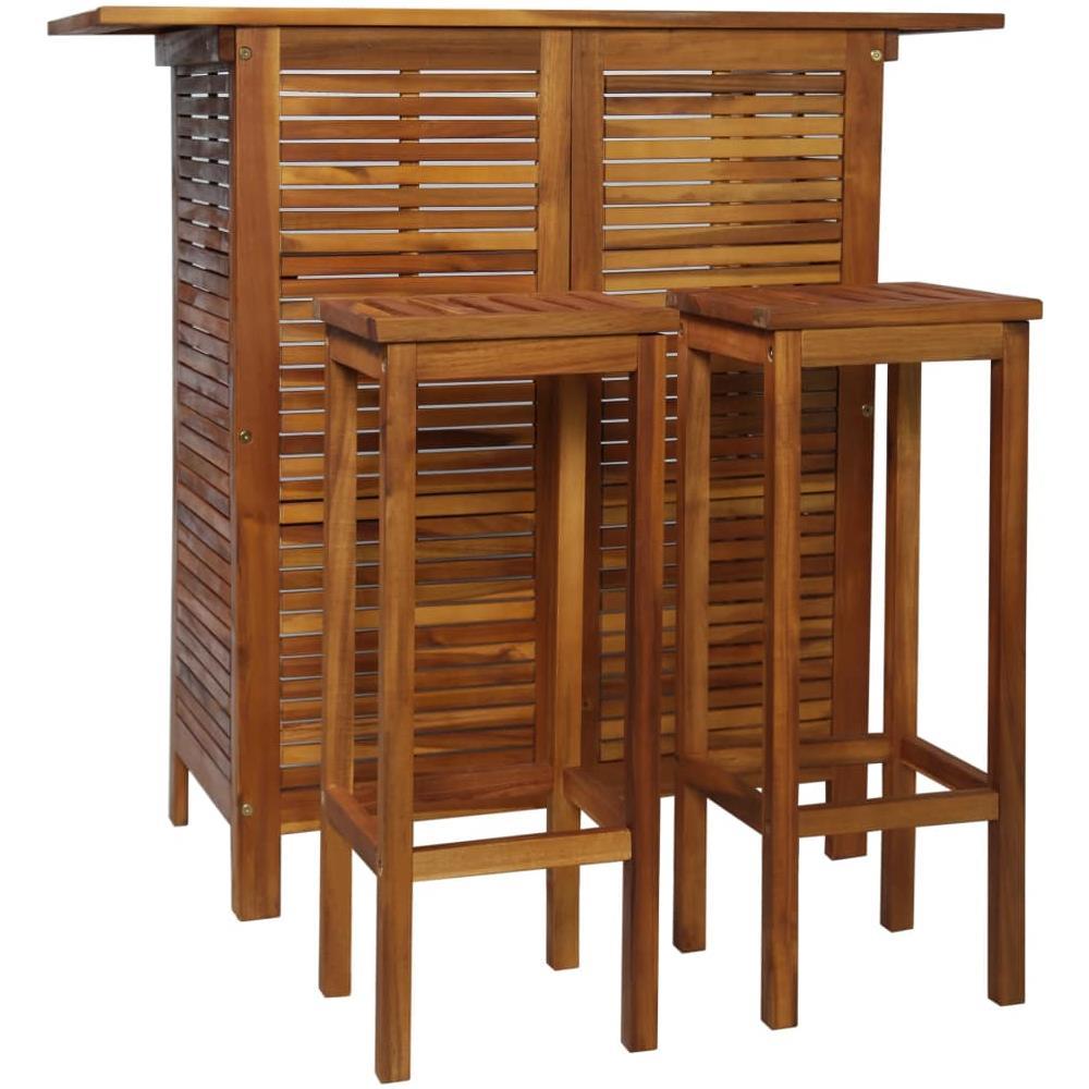 Tavoli E Sedie Per Esterno Bar Usati.Vidaxl Set Tavolo E Sedia Da Bar 3 Pz In Legno Massello Di