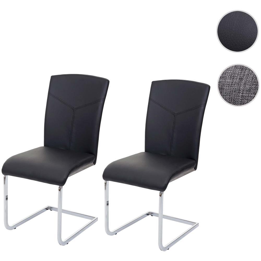 Mendler Set 2x Sedie Sala Da Pranzo Design Moderno Hwc F36 Struttura A Slitta Ecopelle Nero Eprice