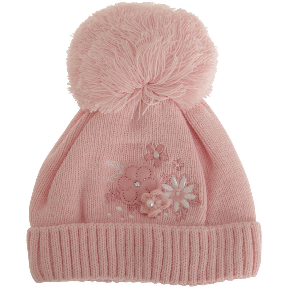 Universal Textiles - Berretto Invernale Con Pompon E Fiori Neonate ... 1505323dd0ec