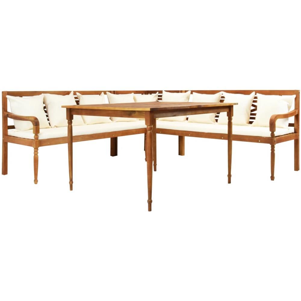 Divani Angolari Con Tavolino.Vidaxl Divano Angolare Con Cuscini E Tavolino In Massello Di