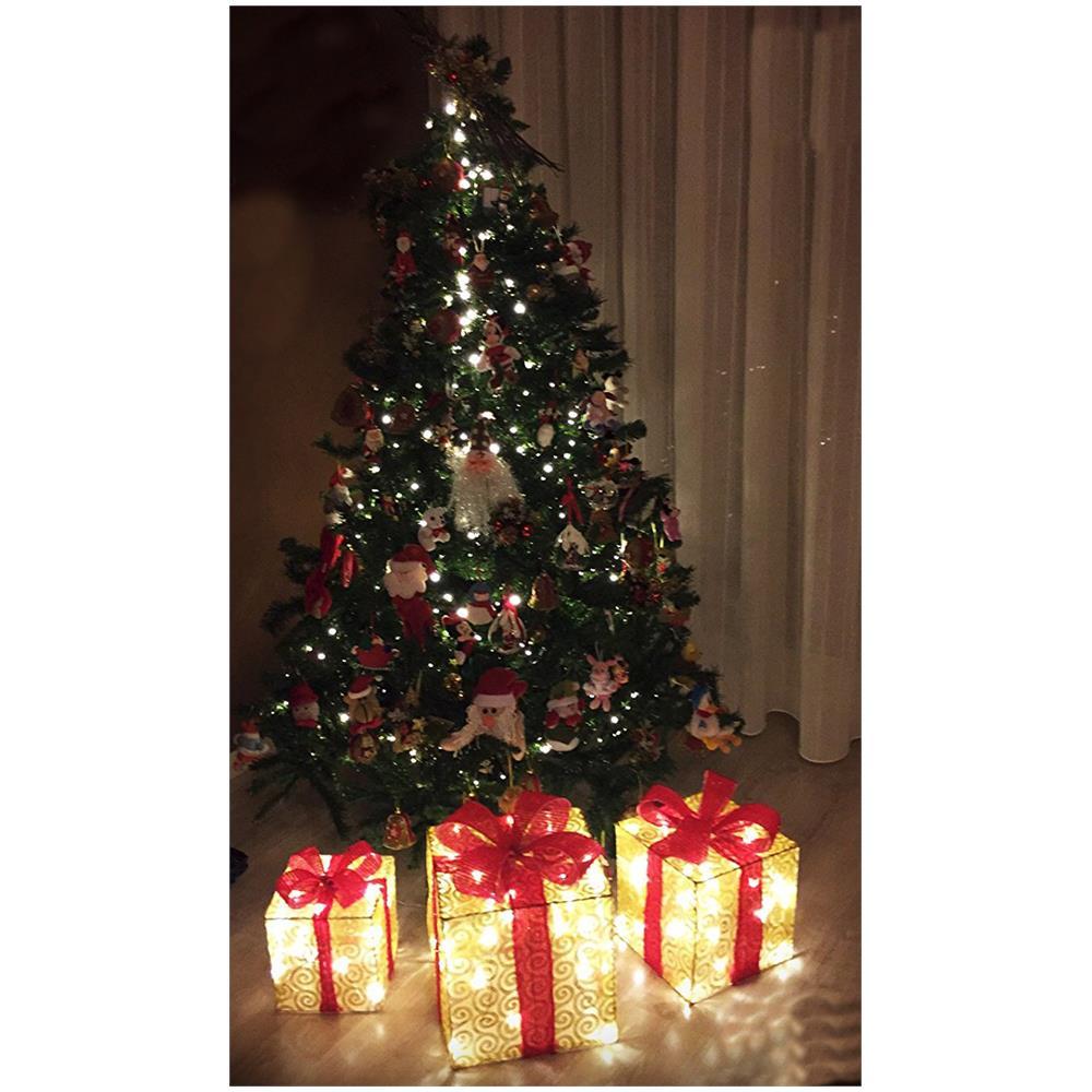 Pacchi Natale Luminosi.Avdistribution Pacco Regalo Luminoso A Led Set 3 Pezzi Addobbo Natalizio Color Oro Con Fiocco Rosso Classe Di Efficienza Energetica A