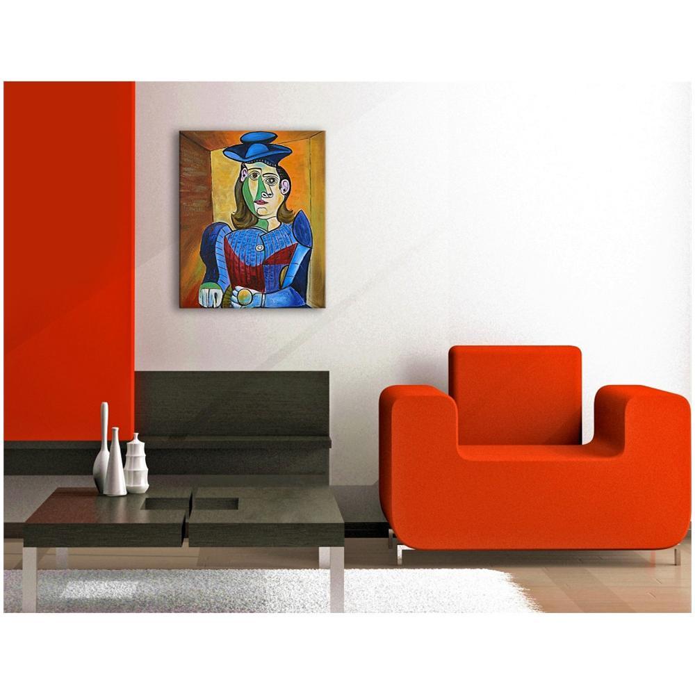 Arte dal Mondo Donna Con Cappello Blu Quadro Dipinto Ad Olio A Mano Su Tela  Montata Su Telaio Estetico d78041a84a78