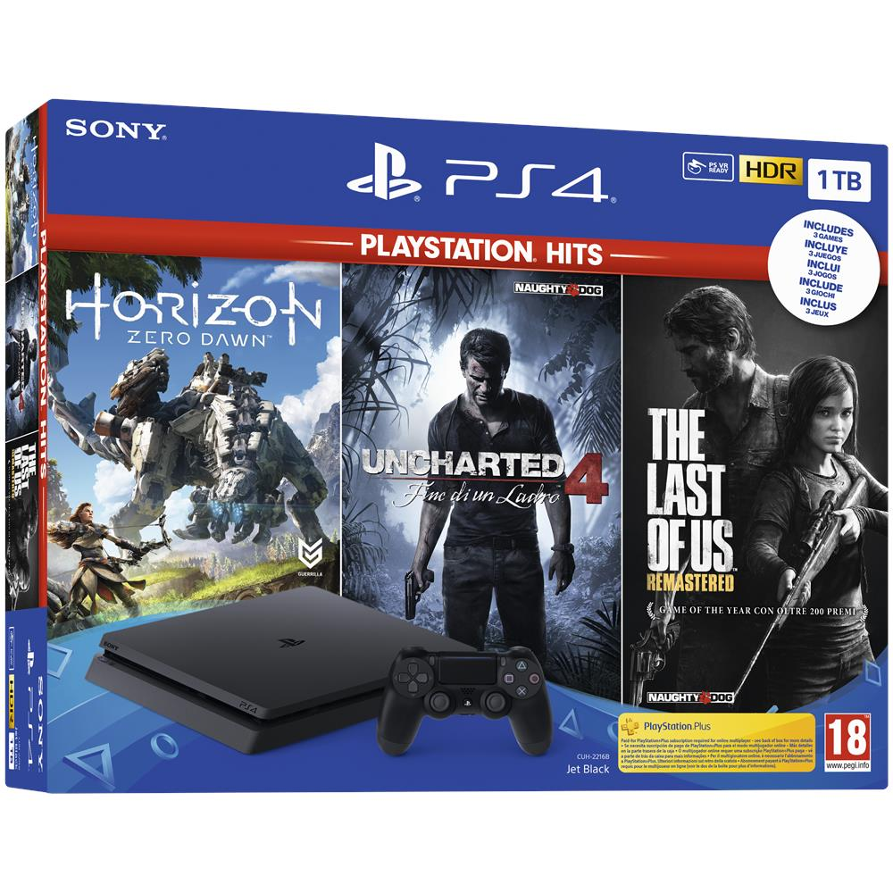Console PS4 1 TB + 3 Giochi Playstation Hits (Horizon Zero Dawn + The Last of Us + Uncharted 4)