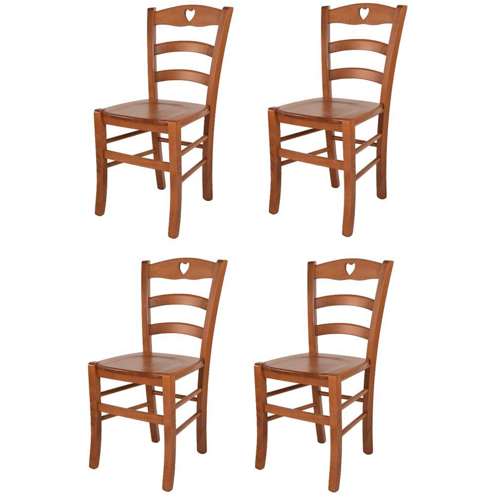 T M C S Tommychairs Set 4 Sedie Modello Cuore Per Cucina Bar E Sala Da Pranzo Robusta Struttura In Legno Di Faggio Color Ciliegio E Seduta In Legno Eprice