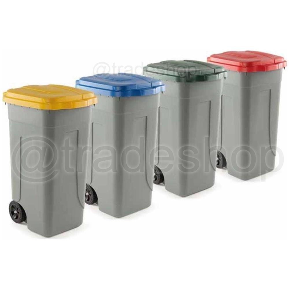 Cestini Raccolta Differenziata Casa trade shop bidone raccolta differenziata 100 litri con coperchio colorato e  ruote - marrone