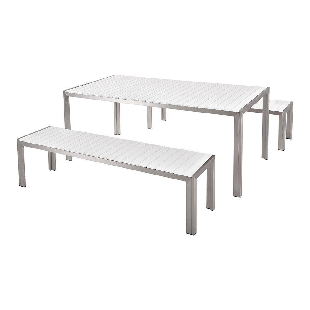 Tavolo Da Giardino Legno Bianco.Beliani Set Di Tavolo E Panche Da Giardino In Alluminio E Legno