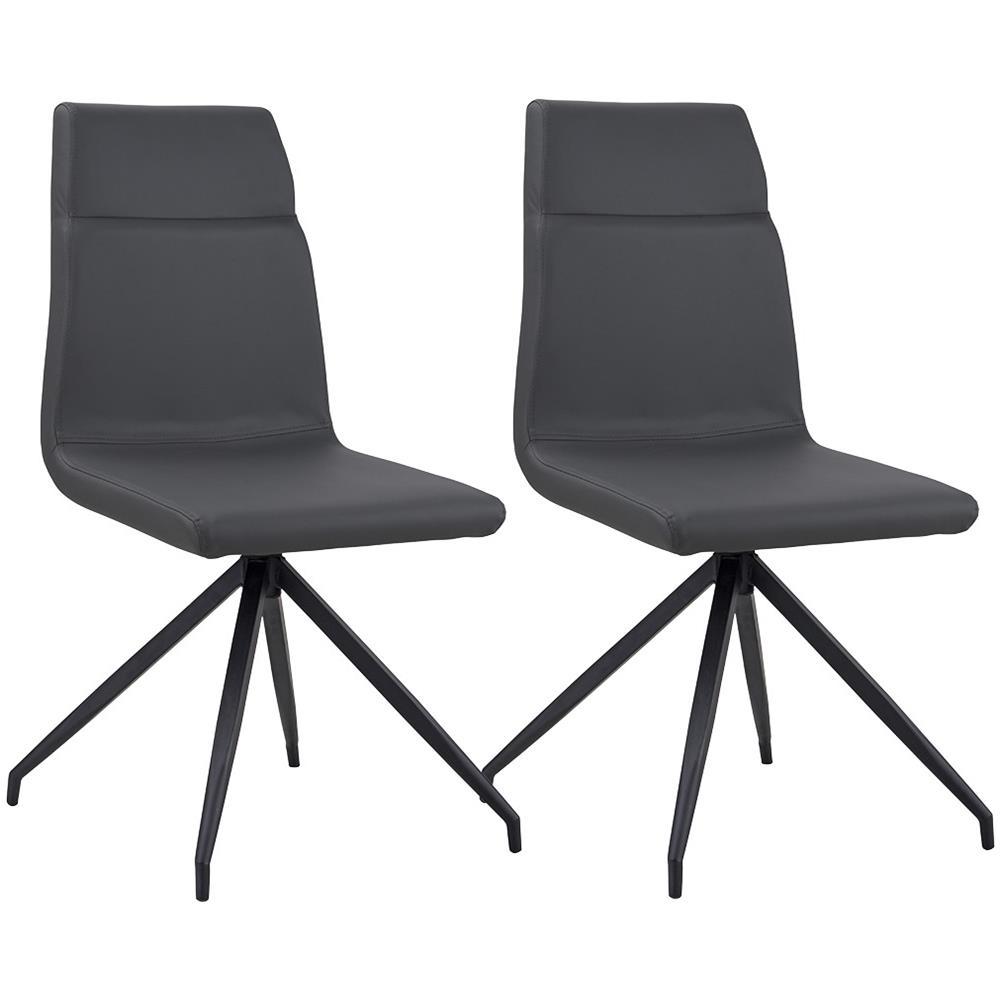 B.H.D - Tali - Set di 2 sedie moderne - Finta Pelle - Colore Grigio ...