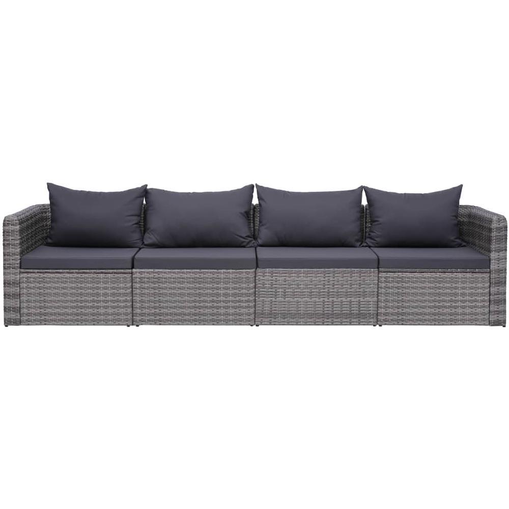 Divani Da Esterno Impermeabili vidaxl set divani da giardino 4 pz con cuscini grigio in polyrattan