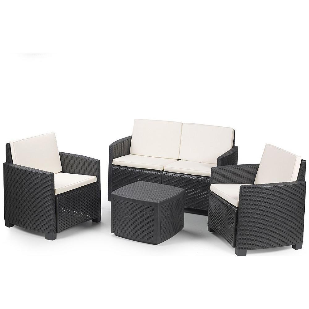 IPAE-PROGARDEN Set da Giardino 1 Divano 2 Poltrone e 1 Tavolino con Cuscino  Antracite - Modello Etna