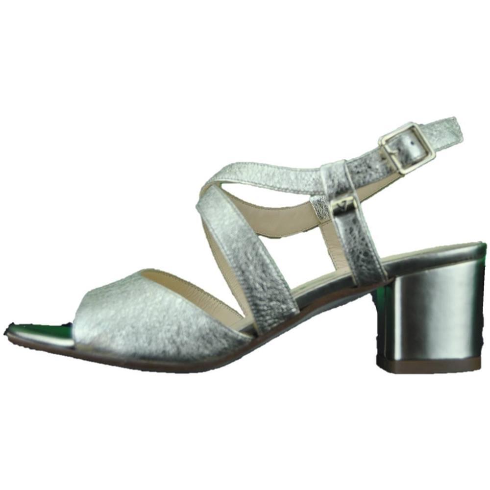 sneakers for cheap 44fa5 0bc1d VALLEVERDE Sandalo Scarpe Tacco Basso Pelle Donna Platino Gioiello Platino  36