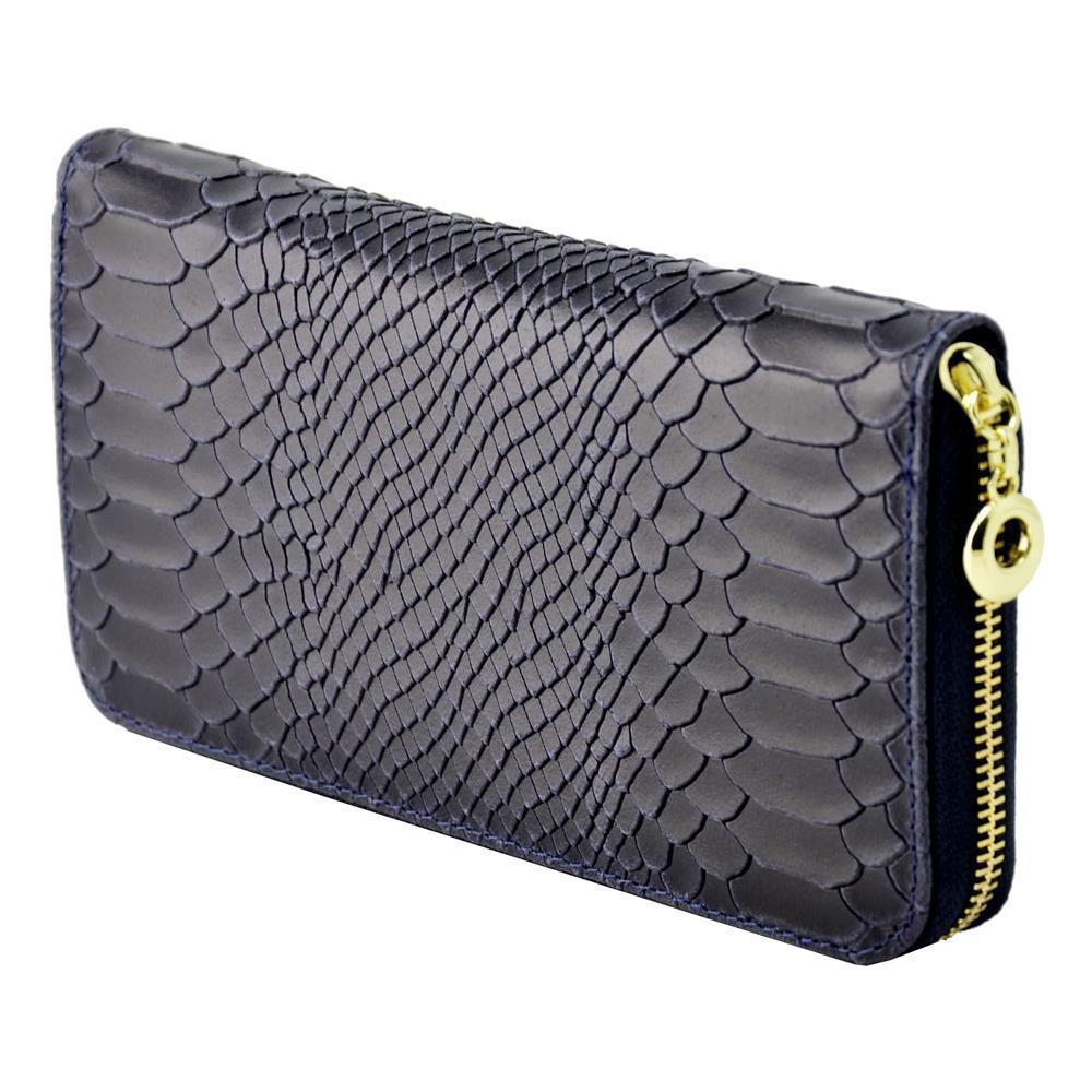 8379eb14b2 Dream Leather Bags Portafoglio Per Donna In Vera Pelle Stampa Pitone Colore  Blu Scuro - Pelletteria Toscana Made In Italy - Accessori