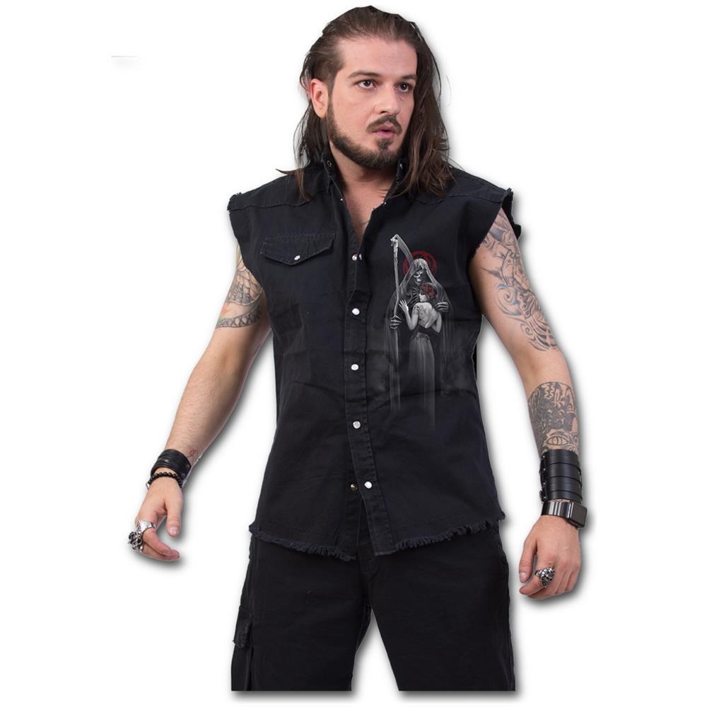 - Dead Kiss - Stone Washed Black (Camicia Smanicata Unisex Tg. L)
