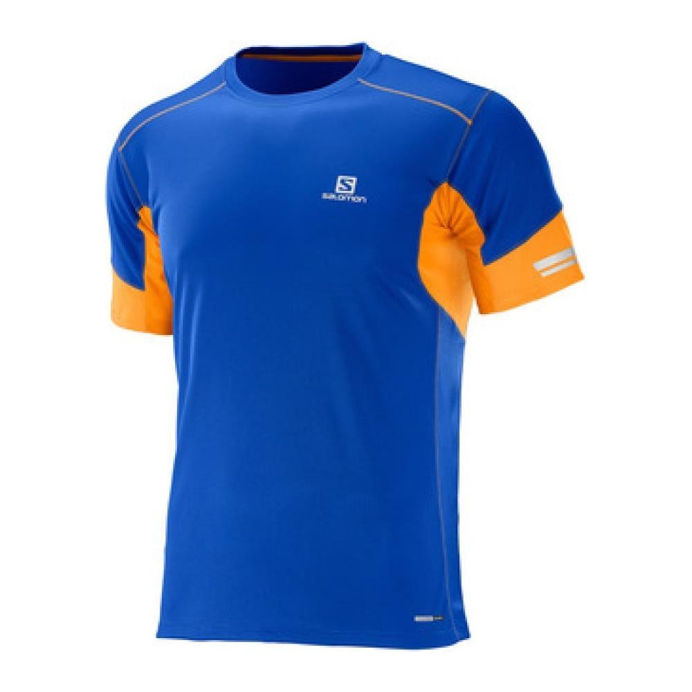 03a9a395d24f Salomon - T-shirt Agile Ss Tee Uomo Blu Arancio Xl - ePRICE