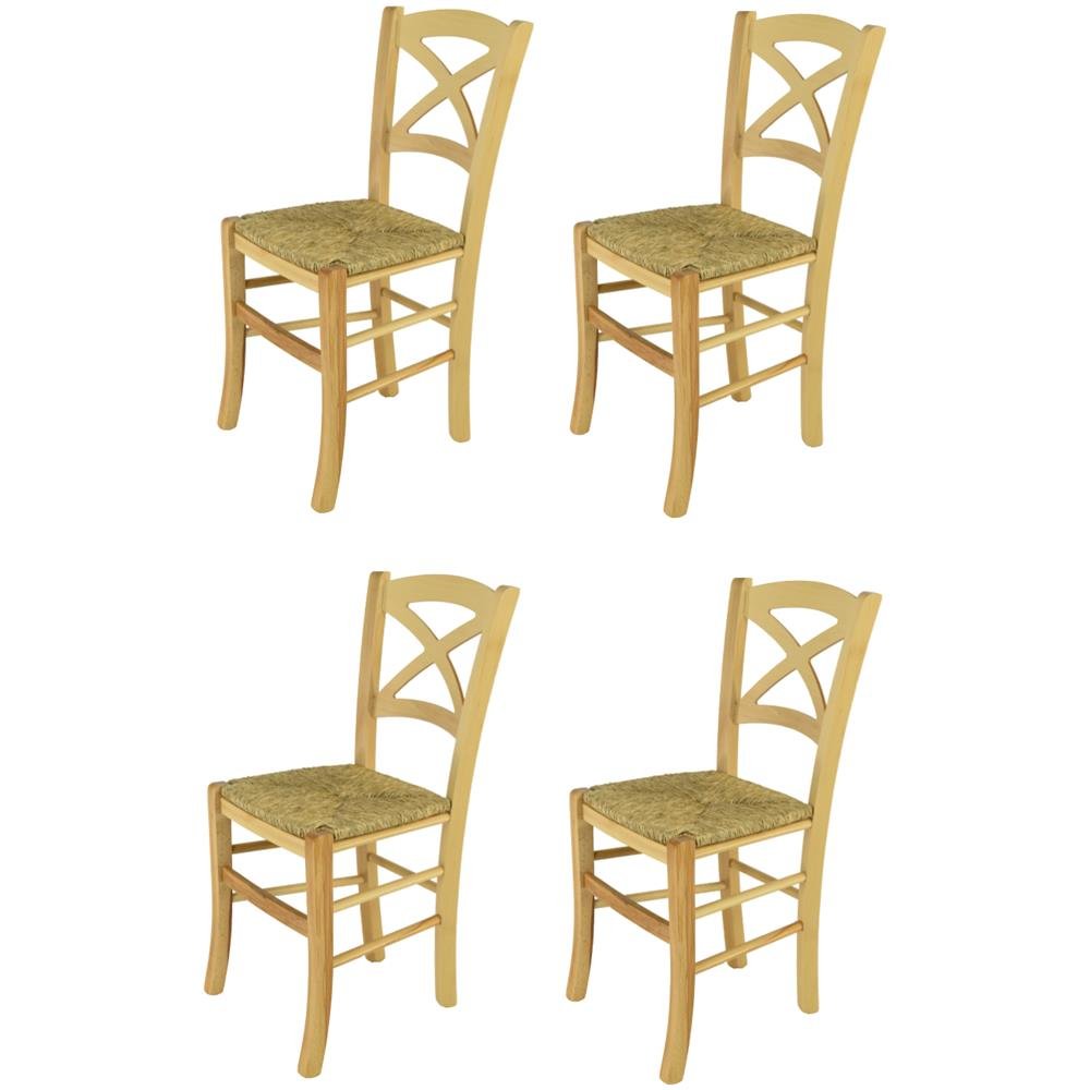 Modelli Sedie Per Cucina.T M C S Tommychairs Set 4 Sedie Modello Cross Per Cucina Bar E Sala Da Pranzo Robusta Struttura In Legno Di Faggio Color Naturale E Seduta In Paglia Eprice