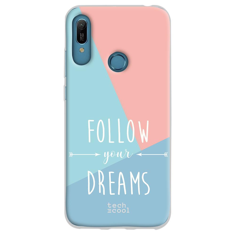 TECHCOOL Custodia Per Huawei Y6 2019 / Honor 8a L Cover Silicone Seguire I Tuoi Sogni Frase Tricolore Sfondo