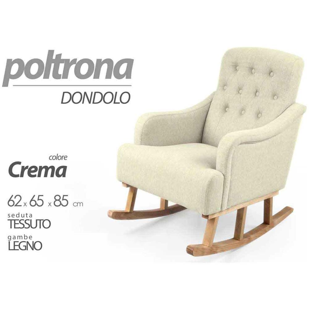 ARGONAUTA Poltrona A Dondolo Crema Arredo Chic Cm 62 X 65 X 85 H