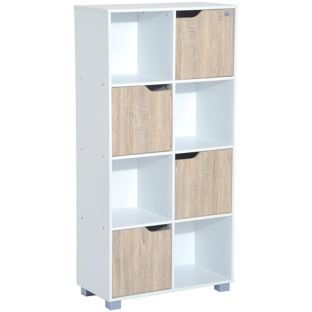 HomCom - Libreria Di Design A 8 Scompartimenti In Legno Bianco ...