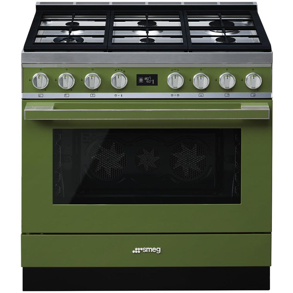 SMEG - Cucina Elettrica CPF9GMOG 6 Fuochi a Gas Forno Elettrico ...