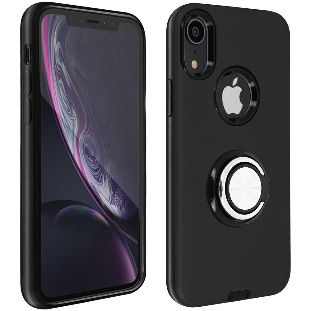 Avizar Cover Apple Iphone Xr Bimateria Anello Finitura Metallizzata Nero
