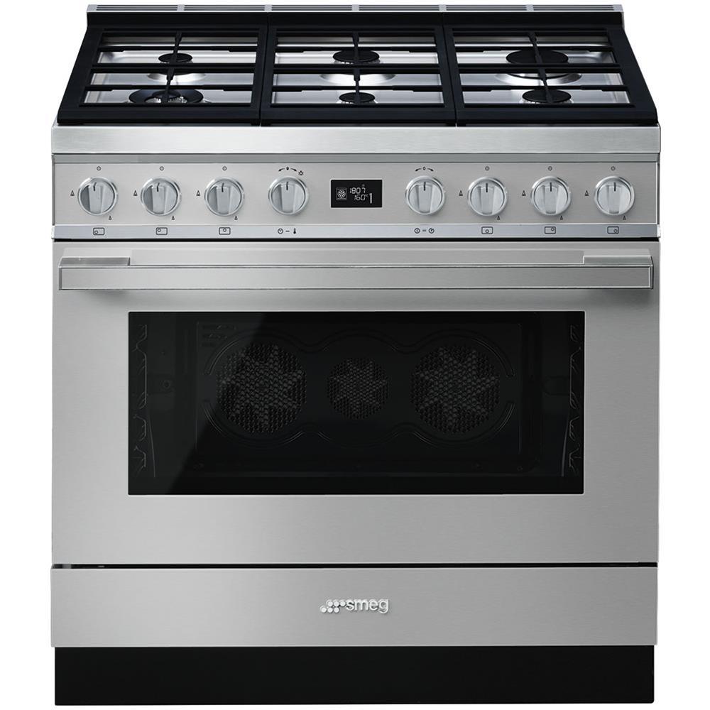 SMEG - Cucina Elettrica CPF9GMX 6 Fuochi a Gas Forno Elettrico ...